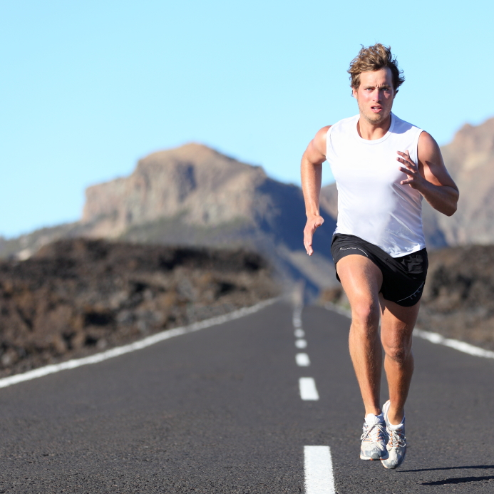 Interval Running or Interval Training on Mountain Road